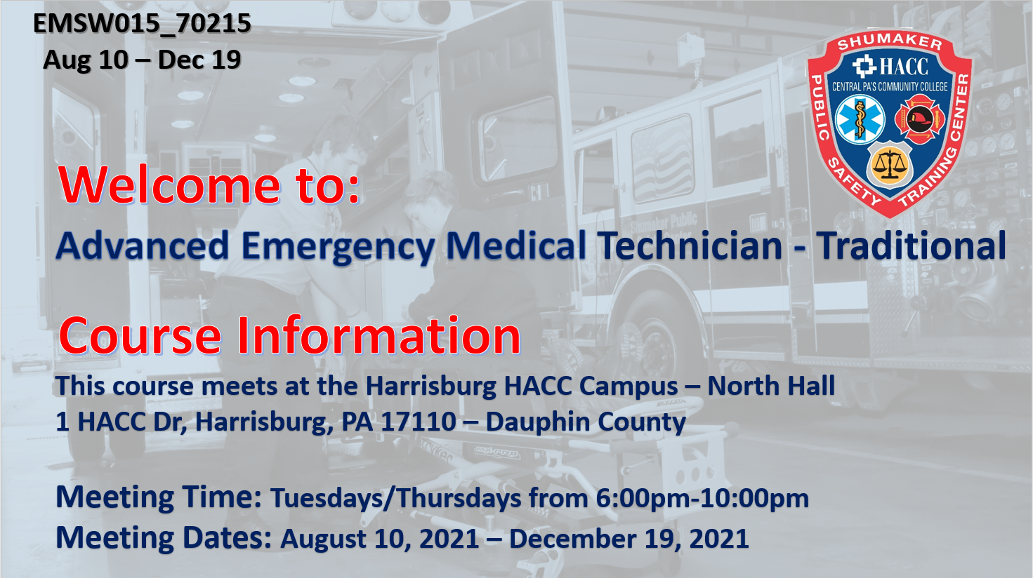 AEMT Traditional (EMSW015_CRN70215) Dauphin County