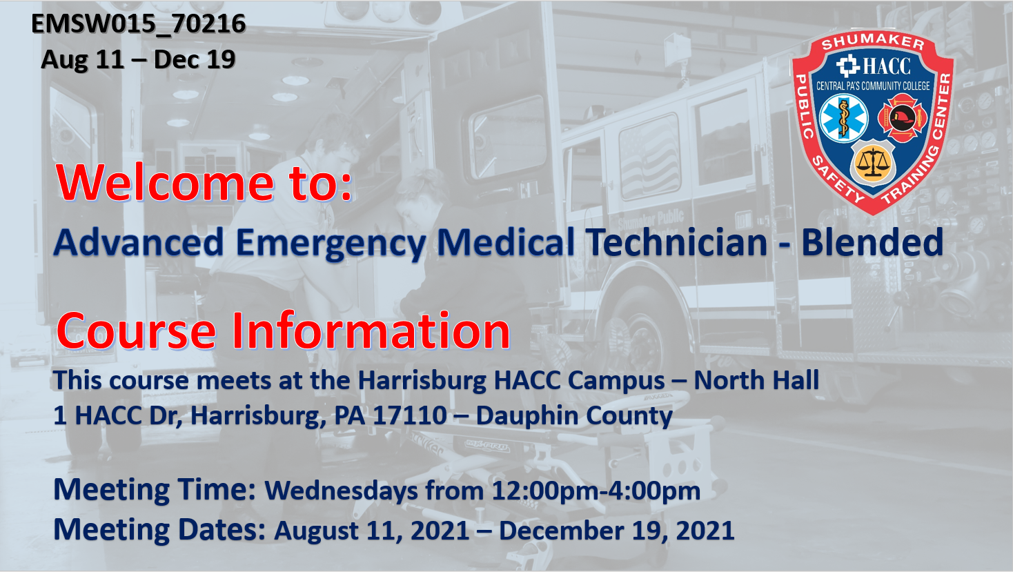 AEMT Blended Wednesday (EMSW015_CRN70216) Dauphin County