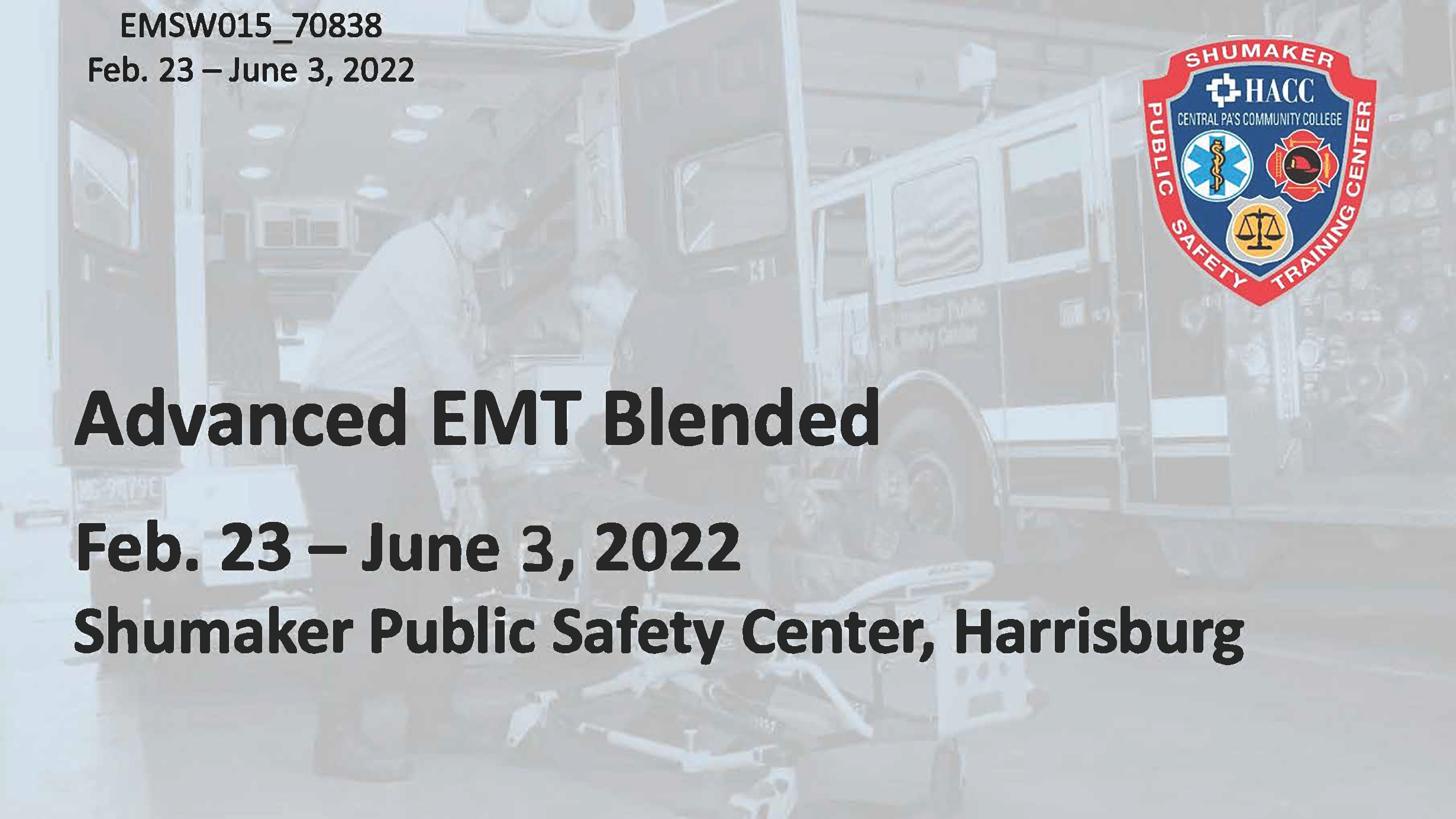 AEMT Blended Wednesday (EMSW015_CRN70838) Dauphin County