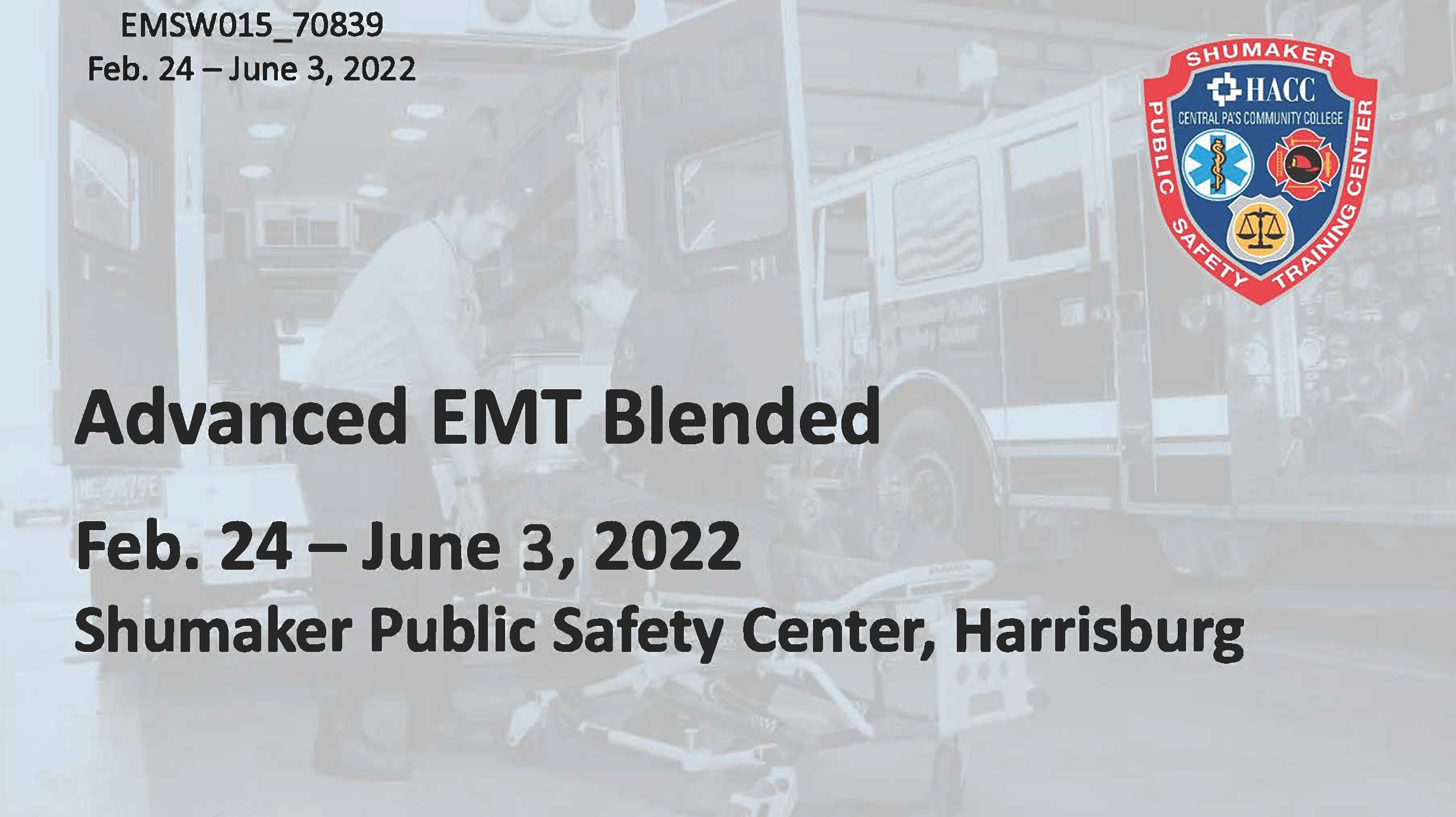 AEMT Blended Thursday (EMSW015_CRN70839) Dauphin County