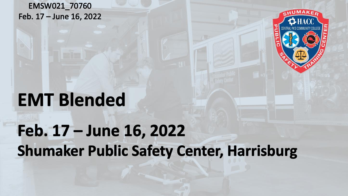 EMT Blended Thursday (EMSW016_CRN70760) Dauphin County