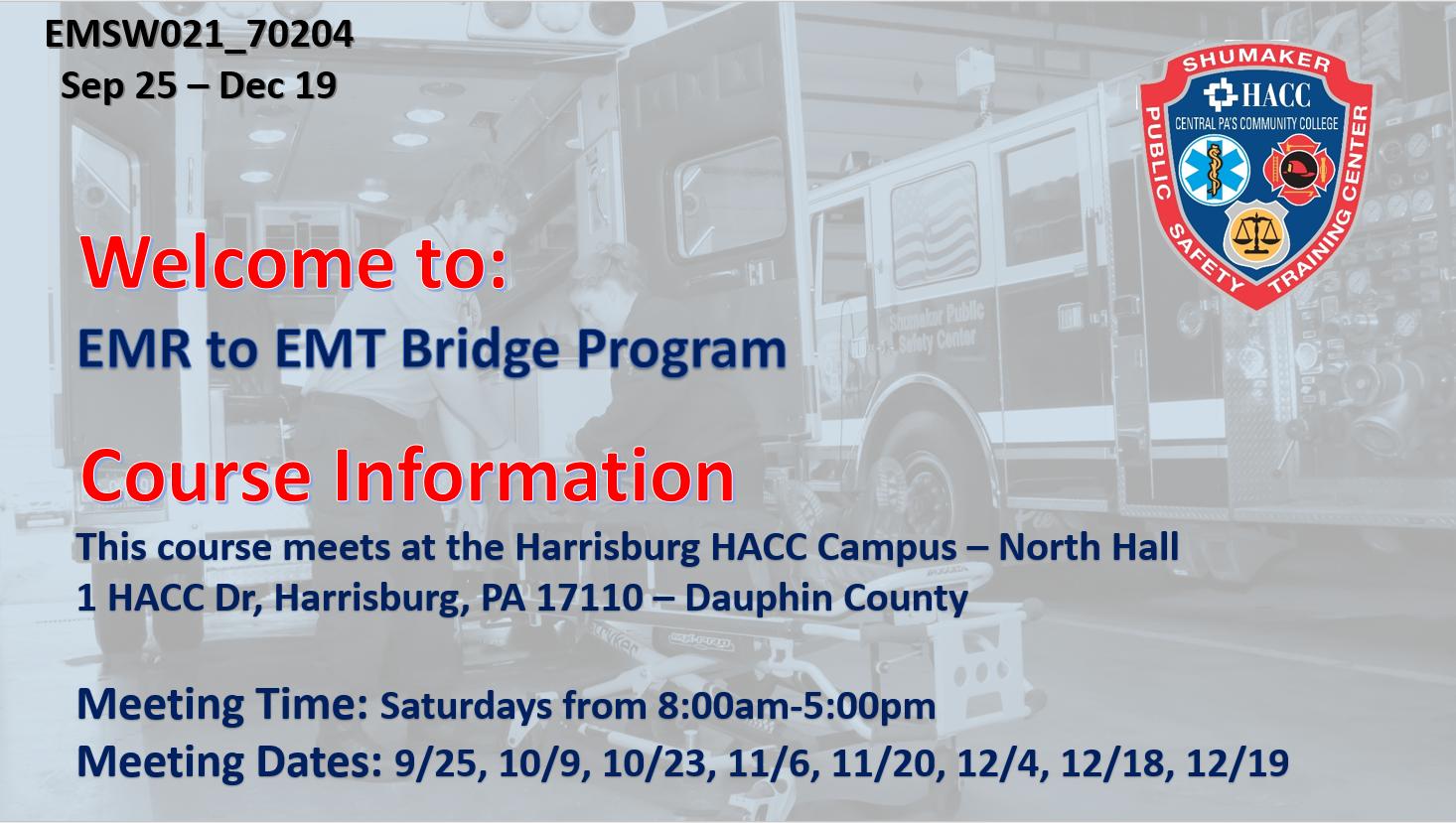 EMR to EMT Bridge (EMSW021_CRN70212) Dauphin County